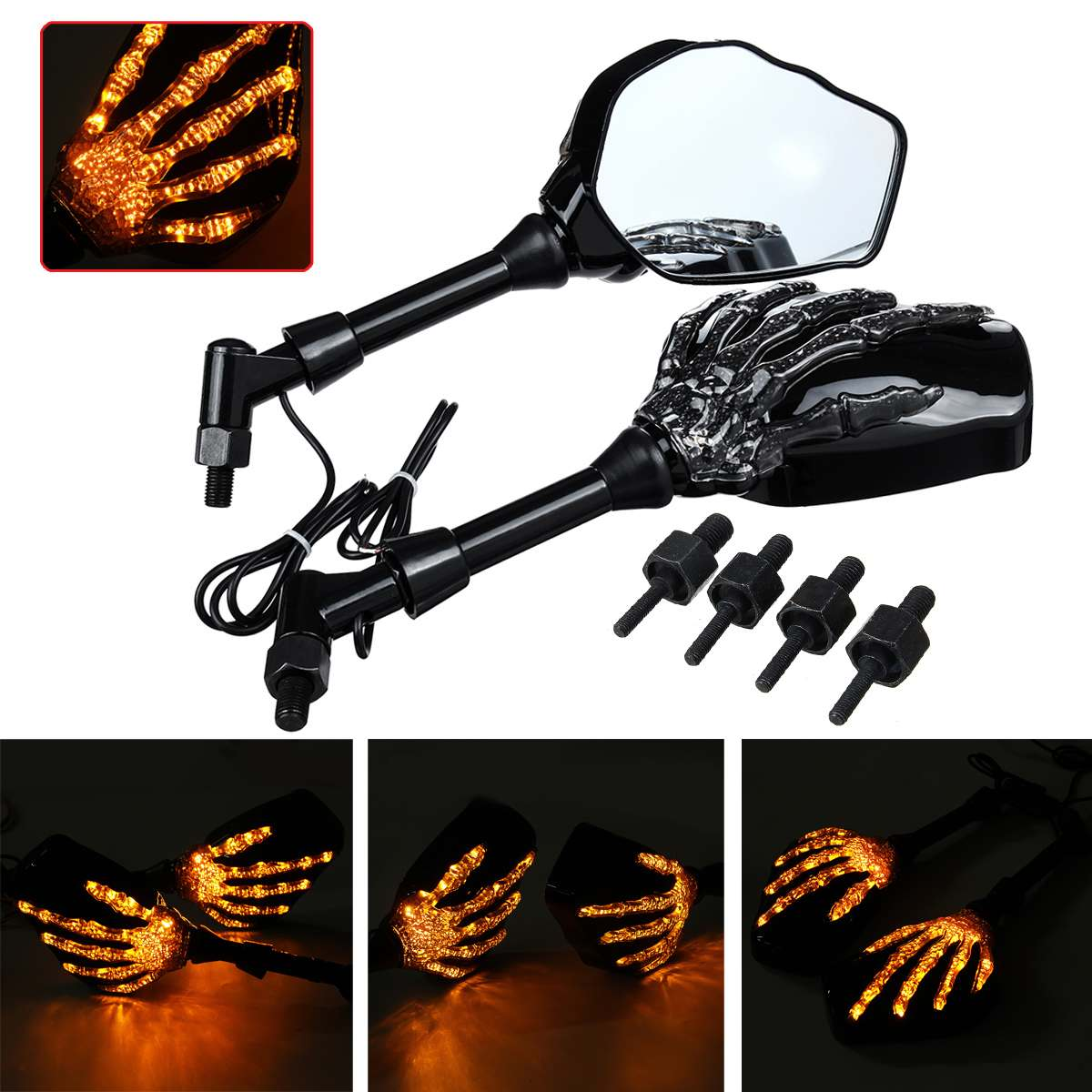 Pair Motorcycle Mirror Skeleton Skull Hand Claw Side Rear View Mirrors LED Turn Signal Light 8mm 10mm Universal