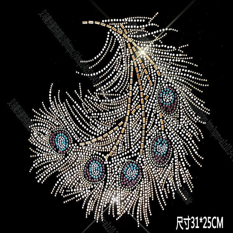 Hot Map Pattern Clothes Hot Drilling Personality DIY Rhinestone Colorful Feather New Products