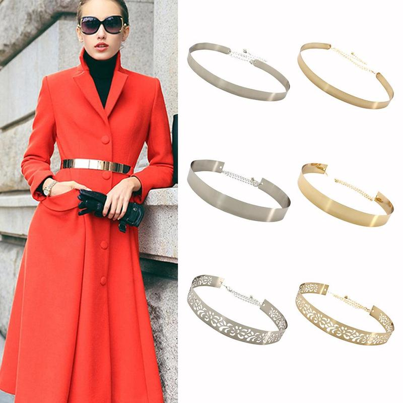New Fashion Adjustable Hollow Gold Metal Link Waist Belts Women Vintage Alloy Ladies Wide Waist Belt Party Accessories Gifts