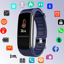 Body Temperatuur Digitale Horloge Mannen Horloges Dames Bluetooth Armband Klok Siliconen Vrouwen Digitale Horloge Hart Android Ios(China)