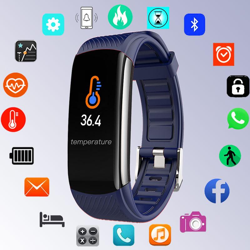 Temperatura do Corpo Relógios de Pulso Relógio de Silicone Relógio Digital Homens Senhoras Bluetooth Pulseira Feminino Coração Android Ios