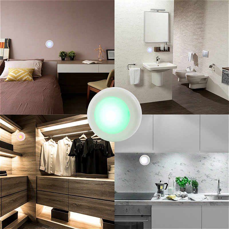 Inalámbrico Multicolor Dimmable RGB gabinete luz Control remoto Sensor táctil armario Led para pared armario escalera pasillo noche lámpara