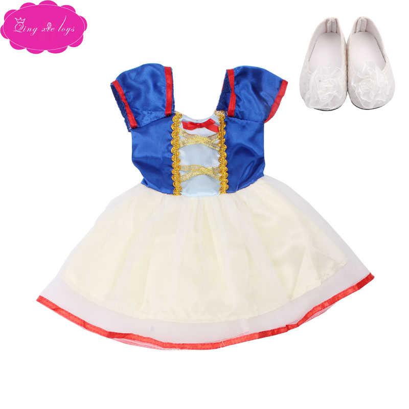 18 дюймов, с круглым вырезом, для девочек костюм «Единорог», платье с изображением Белоснежки с обувью Американский новорожденных юбка Микки детские игрушки подходит 43 см для ухода за ребенком для мам, детские куклы, c76