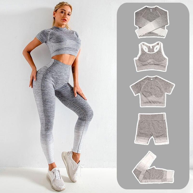 Женский комплект для йоги, бесшовные шорты для бега, тренажерного зала, Топ с длинным рукавом, спортивные Леггинсы, шорты и бюстгальтер, кост...