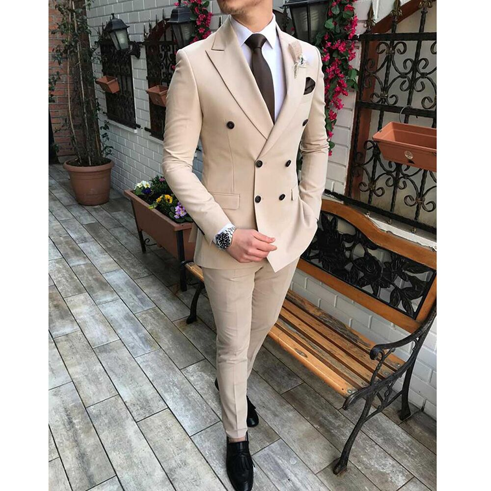Men's Suits 2 Pieces Double Breasted Regular Fit Notch Lapel Solid Prom Tuxedos Wedding (Blazer+Pants)