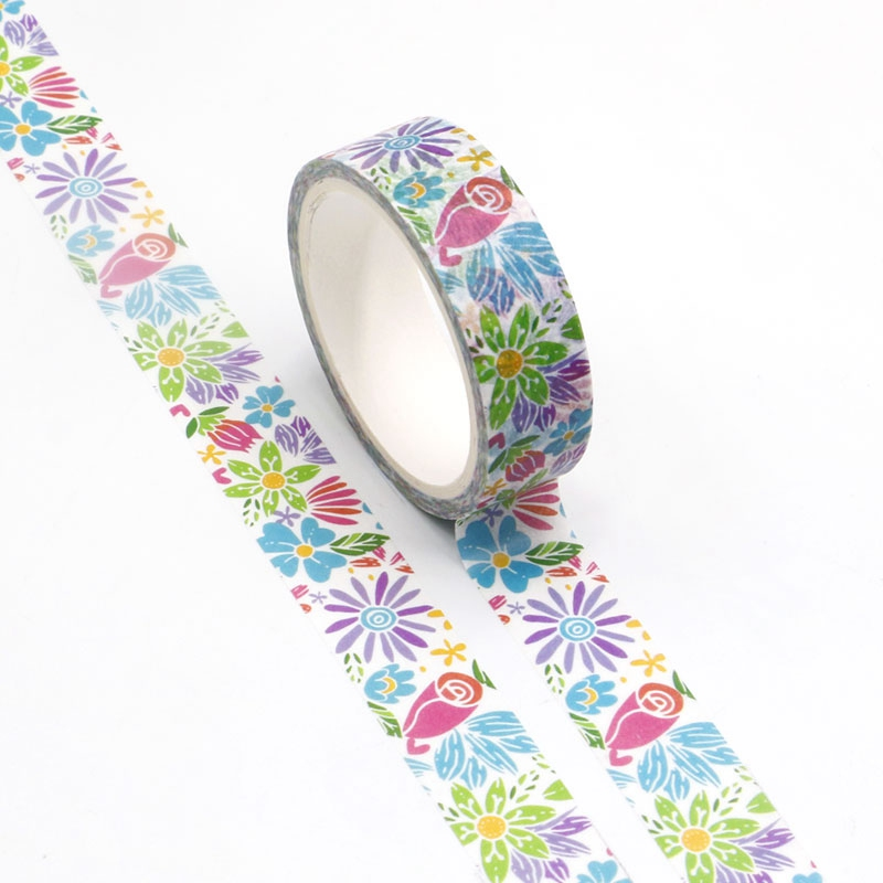 NEW Wholesale 10pcs/lot Decorative Summer Flowers Washi Tapes DIY Scrapbooking Planner Adhesive Masking Tapes Kawaii Stationery