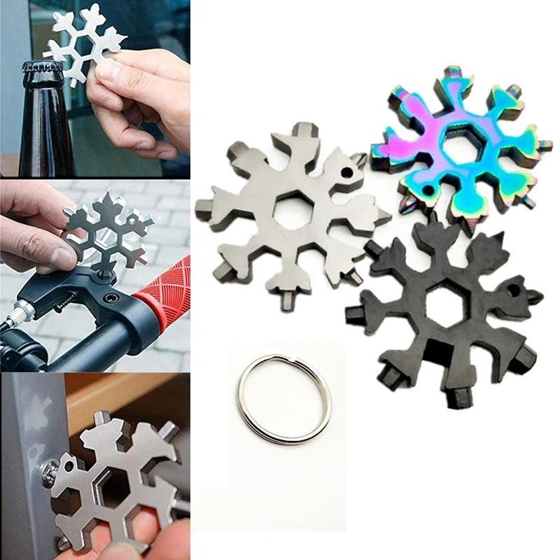 18 In 1 Stainless Steel Multi-Tool Multifunction Snowflake Shape Screwdriver F6