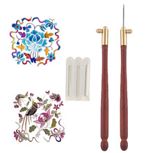 DIY Tambour Hook with 3 Needles 70 100-120 Embroidery Beading Crochet Set Tool Kit Wooden Handle Crochet Hooks Sewing Tools(China)