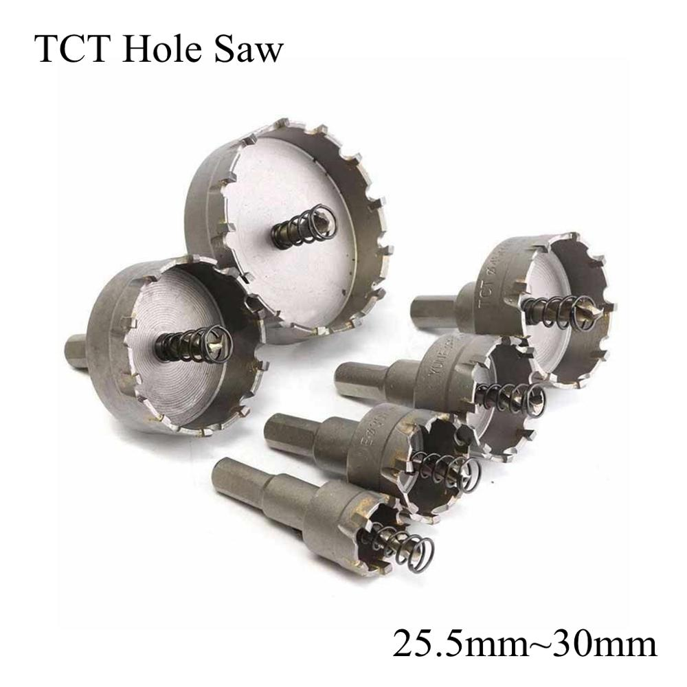 25.5mm 26mm 27mm 28mm 30mm TCT Hole Saw Blade HSS Metal Drill Bit Carbide Tip Cutter Metalworking Stainless Steel Iron Alloy