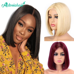 Brazilian Straight 13X4 Short Bob Wigs Lace Front Human Hair Wigs Pre Plucked Natural Wigs For Black Women Remy Asteria Hair(China)