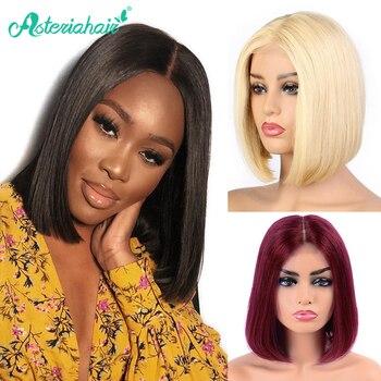 Pelucas brasileñas rectas de 13X4 Bob corto pelucas de cabello humano delanteras de encaje pelucas naturales pre-desplumadas para mujeres negras pelo Remy Asteria