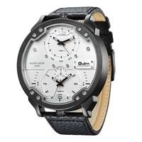Oulm gran reloj de los hombres de cuero de la PU de reloj de cuarzo de los hombres relojes deportivos militares hora dual en la zona de los hombres relogio reloj Relojes de cuarzo     -