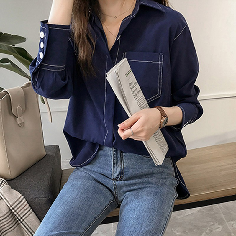 Women Vintage Autumn Shirt  Long Sleeve Button Pocket Solid Color Casual Retro Female Blouses Fall Clothes Y5