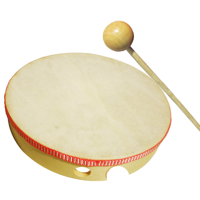 Environmentally Friendly Logs Children Drums, Imitation Sheepskin Music Drum, CHILDREN'S Tambourine, Baby Side Drum Toy