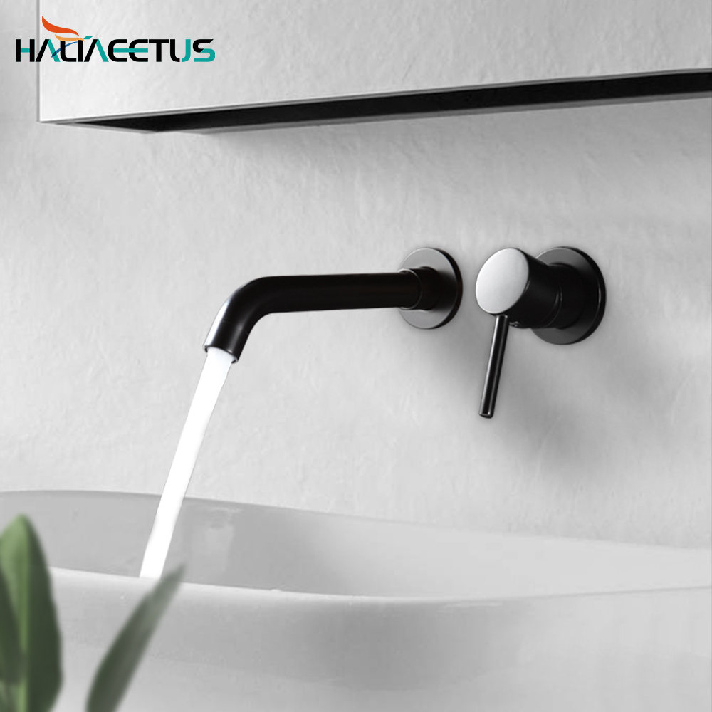Haliaeetus Bathroom Faucets Wall Mounted Basin Faucet Brass Single Handle Mixer Tap Black Matt Hot&Cold Water Faucet
