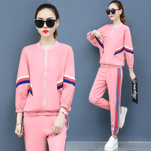 Women Sets Plus Size 3xl Outfits Stripe Printed Tracksuit Casual Sportswear Two Piece Zipper Jacket+ Pants Set