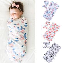 New Cotton Baby Blankets Printed Newborn Infant Baby Boy Girl Sleeping Swaddle Muslin Wrap +Headband 2PCS цена
