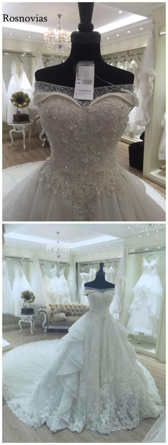 Image 3 - Luxury Wedding Dresses 2020 Ball Gown Off Shoulder Lace up Back Chapel Train Appliques Sequins Bride Gowns Свадебное ПлатьеWedding Dresses   -