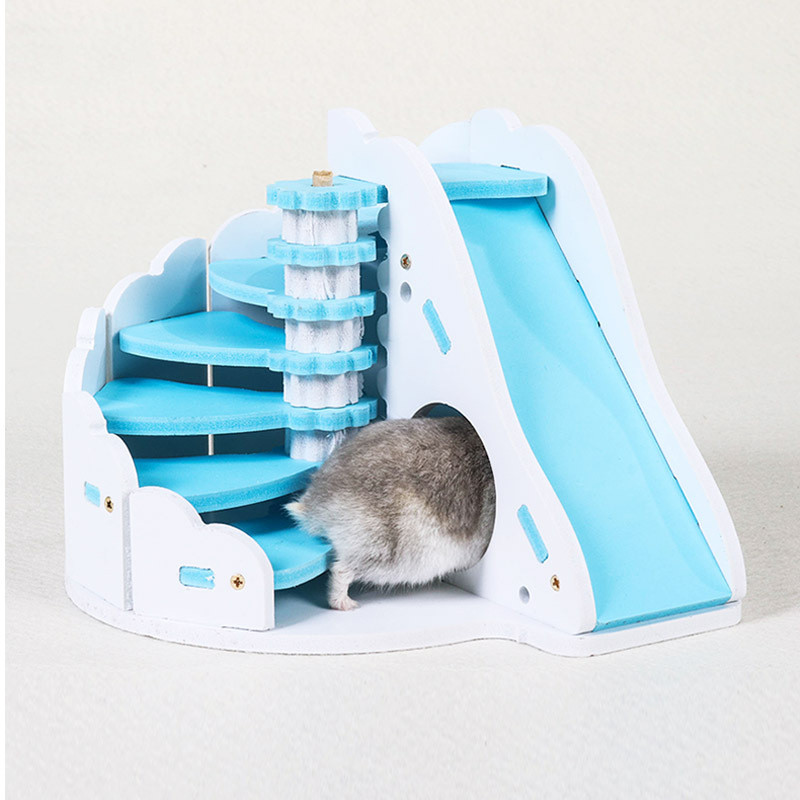 Cute Hamster Staircase Sleeping House Hedgehog Squirrel Wooden Castle Toy Small Animal Viewing Deck Cabin Pet Bedroom Supplies
