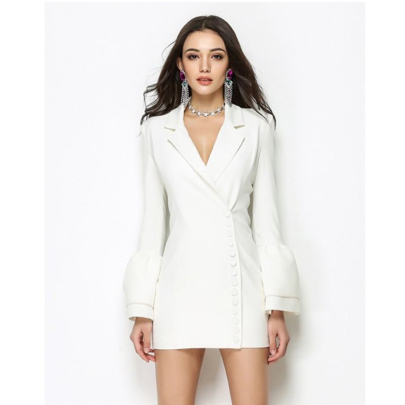 SIPAIYA 2019 New Arrival Autumn And Winter Elegant Women Single Breasted Notched Blazers Suit Special Design Fashion Long Jacket