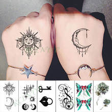 Waterproof Temporary Tattoo Sticker moon sun butterfly key musical note flowers tatto flash tatoo fake tattoos for kid men women(China)