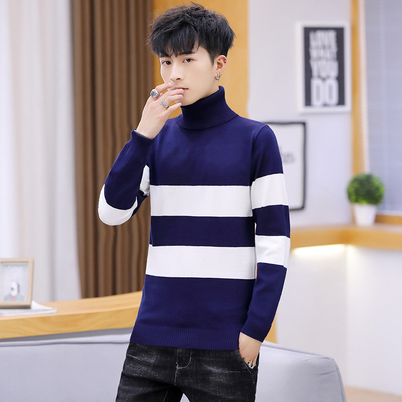 Leisure Color Sweater Men Matching Red Dark Blue Black Light Grey Slim Fit High Collar Pullover Long Sleeve Winter Mens Sweaters