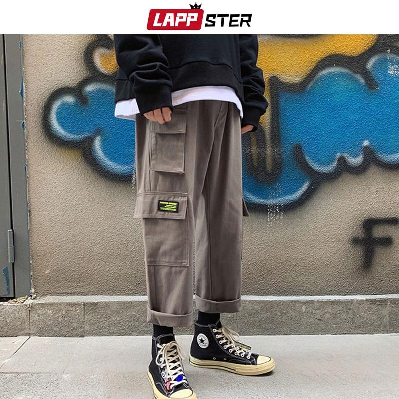LAPPSTER Men Japanese Streetwear Cargo Pants 2019 Harem Pants Man Overalls Hip Hop Sweatpants Joggers Pants Vintage Trousers