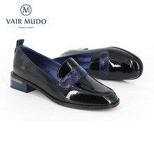 Vair mudo mulher bombas sapatos preto primavera outono couro genuíno casual único calçado de dedo do pé redondo deslizamento em calçados d60
