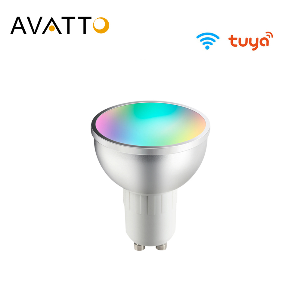 Avatto tuya gu10 wifi lâmpada inteligente, 5w rgb + ww + cw conduziu o copo da lâmpada com função do temporizador regulável lâmpada mágica funciona para alexa, casa do google