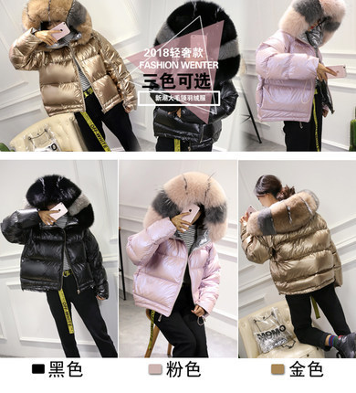 Down Winter 2020 Jacket Woman Hooded Big Fox Fur Collar Duck Down Coat Women Korean Two Side Wear Female Jacket KJ2693