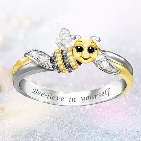 Believe In Yourself Insect Bee Rings For Women Fashion Jewelry Accessories Yellow Honeybee Silver Rings Bague Gift