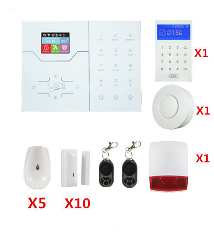 French GSM Alarm HA-VGW Wifi Alarm GSM Smart Home Security Alarm System With Touch Screen Text Menu Alarm System Built In Horn