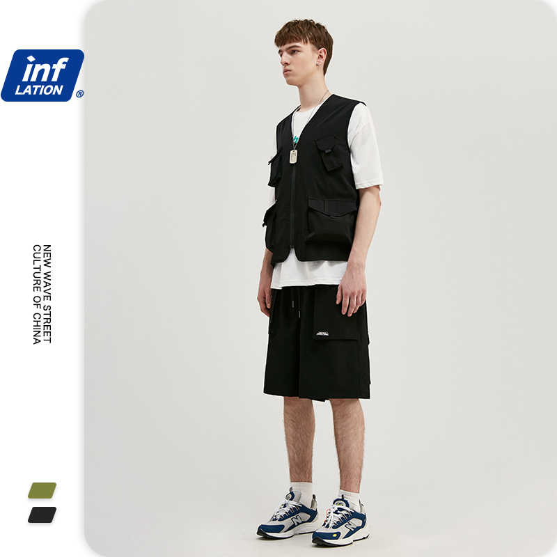 INFLATION Design Streetwear Suit Men Gilet With Utility Pockets & Loose Fit Style Men Summer Shorter Shorts With Elastic Waist