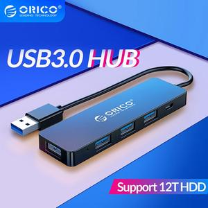 ORICO USB3.0 HUB With Power Supply Interface Multi 4 Port USB Splitter OTG Adapter Support 5Gbps 12TB HDD For PC Computer Laptop(China)