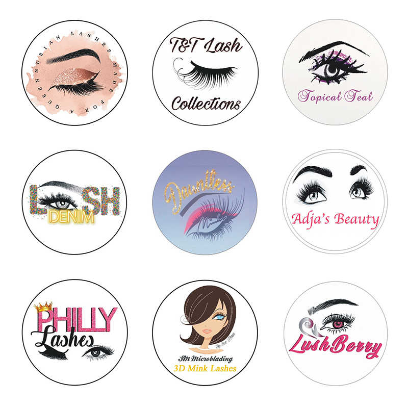 200pcs Eyelashes logo stickers Business Cards Custom Clear Wedding Labels brand Mink Lashes Paper Lipgloss Tubes Logo Sticker|False Eyelashes| - AliExpress