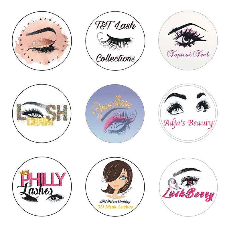 200pcs Eyelashes Logo Stickers 30mm Customize Business Cards Custom Name Card Wedding Logo Mink Eyelashes Paper Lashes Sticker