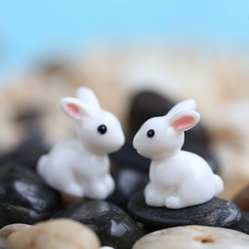Lovely Resin Rabbit Micro Landscape Succulent Ornaments Plant Decoration Garden Miniatures DIY Rabbit Plant Decoration New image