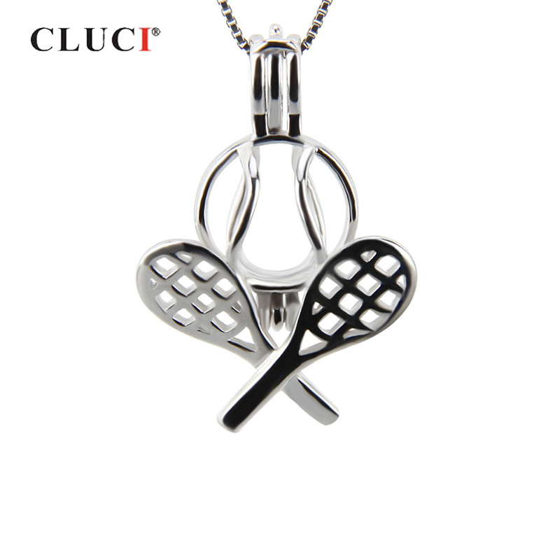 CLUCI Silver 925 Charms Pendant For Pearl Necklace Making Badminton Shaped 925 Sterling Silver Women Pearl Pendant Locket