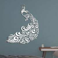 Creative 3D Peacock Acrylic Mirror Wall Stickers Home Art Decals Removable DIY Decor