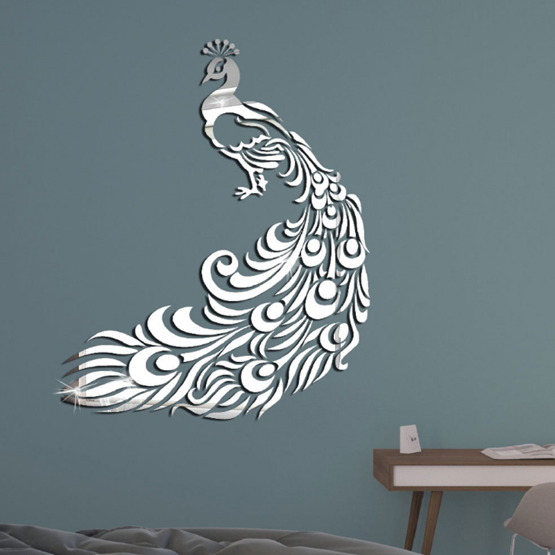 Cristal Acrílico Hermoso Pavo Real 3D Pegatinas de Pared Dormitorio Hogar Decoración