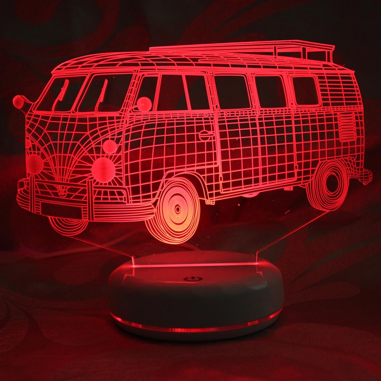 3d wizualne Illusion Lampa LED Camping data data powrotu (przezroczyste akrylowe światło nocne Led Lampa 7 zmienia kolor dotykowy Lampa stołowa domu wystrój
