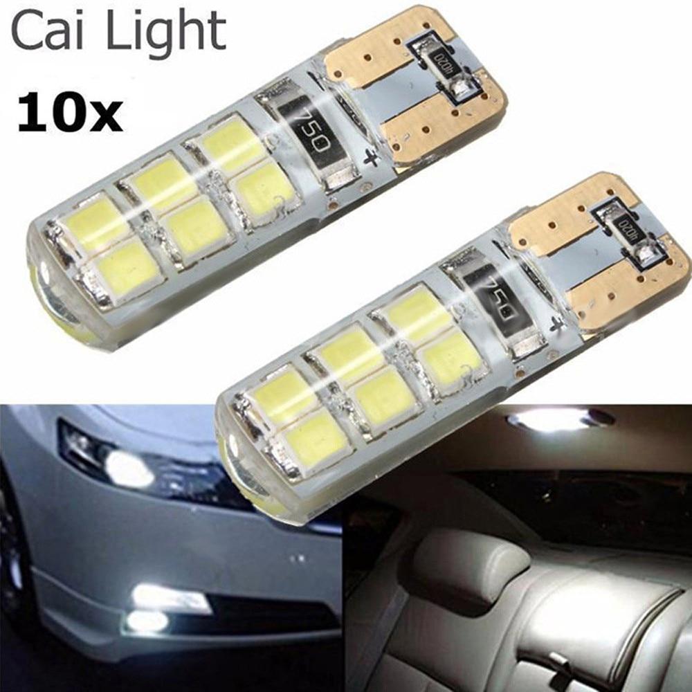 10pcs Car Styling Car Auto LED T10 Canbus 194 W5W 2835 SMD COB Led Parking Bulb No Error LED Light Parking License Light Bulbs