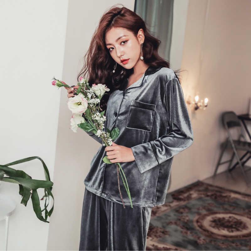 Осенне-зимние брюки с длинными рукавами из двух частей; бархатные пижамы золотого цвета; женская домашняя одежда для сохранения тепла; бархатная новая утепленная одежда