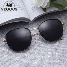 VEGOOS Women Fashion Sunglasses Luxury Brand Vintage Round Metal Frame Polarized