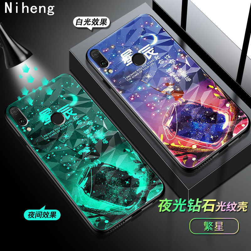 Niheng Luminous Acrylic phone case <font><b>cover</b></font> for <font><b>Xiaomi</b></font> <font><b>Redmi</b></font> Note <font><b>7</b></font> 8 K20 Pro 8A Mi 9 9T 10 Pro Bag Cell Shell Glow in Dark Stars image