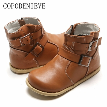 COPODENIEVE  kids boots winter for girls boys real leather shoes school girl