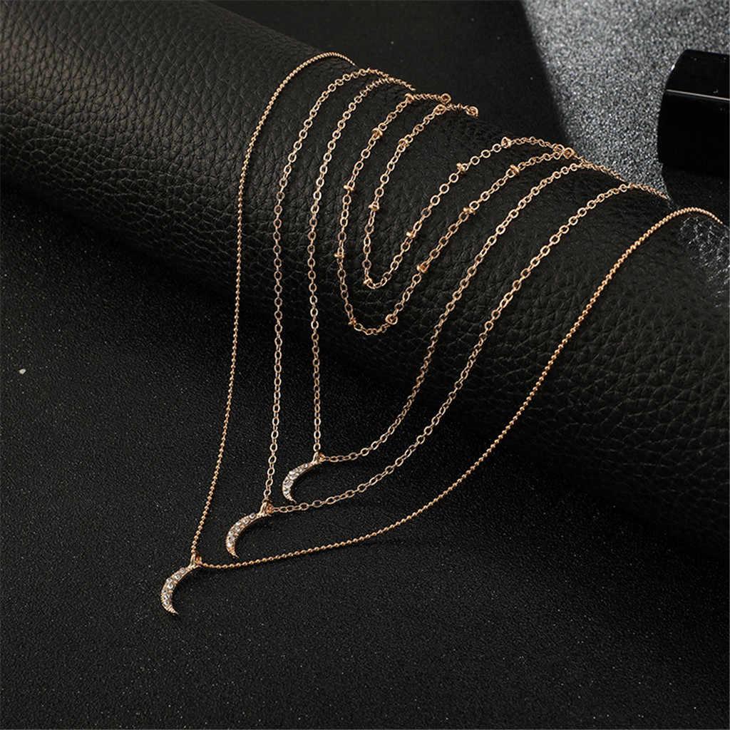 Simple personalidad moda diamante Luna Multi-capa cadena collar aleación Boho colgante collar para mujer larga cadena redonda # BE