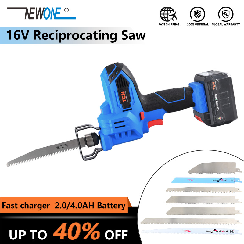 NEWONE 16V Cordless Lithium Reciprocating Saw Hand Saw Saber Saw Electric Power Tools With Battery For Wood/plastic/metal Cut