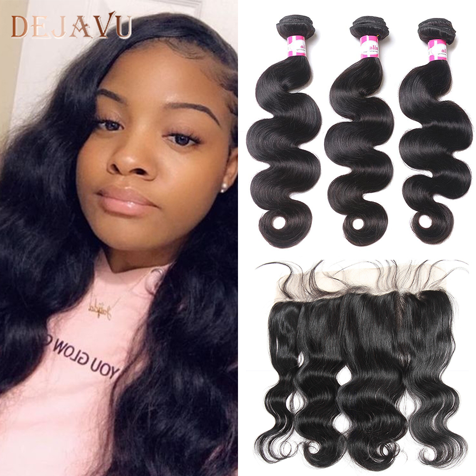 Dejavu NEW Hair Free Return Brazilian Body Wave 3 Bundles With 13*4 Closure Human Hair Weave Deals With Lace Frontal Non Remy