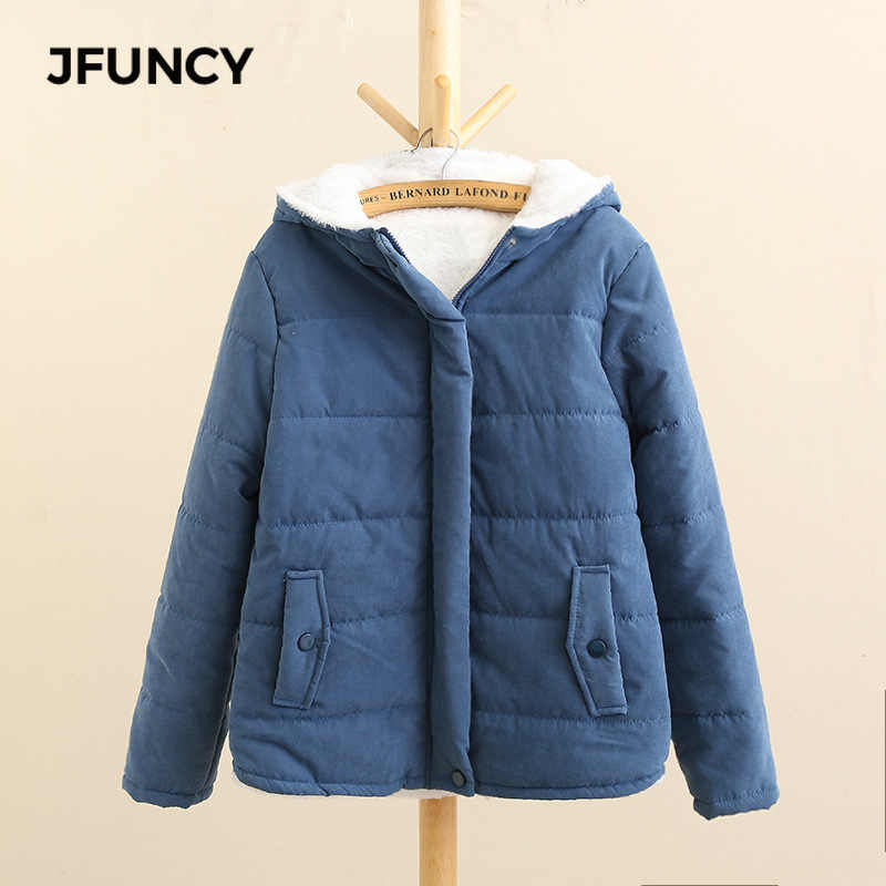 JFUNCY, Parkas de lana de invierno para mujer, abrigo nuevo coreano informal, chaquetas de algodón con capucha a prueba de viento, abrigo cálido de terciopelo color caqui para mujer